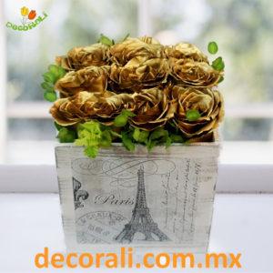 Golden roses en caja