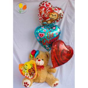 Peluche flores y globos