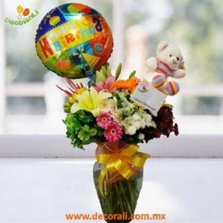flores peluche y globo