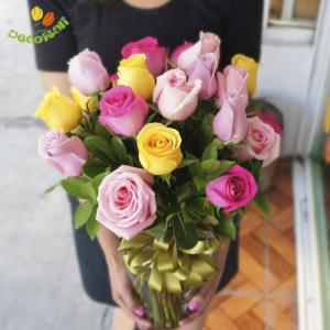 24 rosas multicolor
