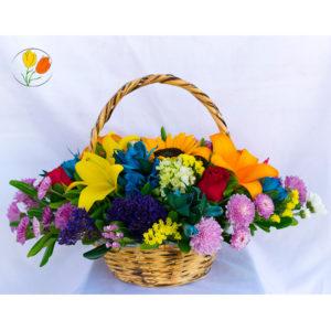Canasta mini con flores