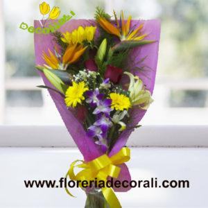 Girasol gerbera y orquidea
