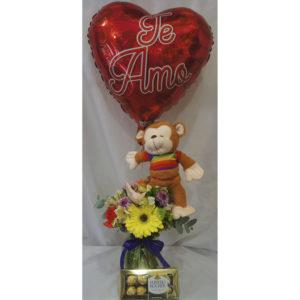 Flores peluche chocolate y globo