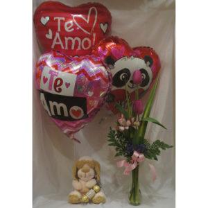 3 globos flores peluche y chocolate
