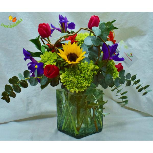 Tulipan iris y girasol