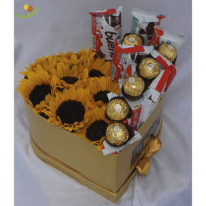 Caja corazon con girasoles y chocolates