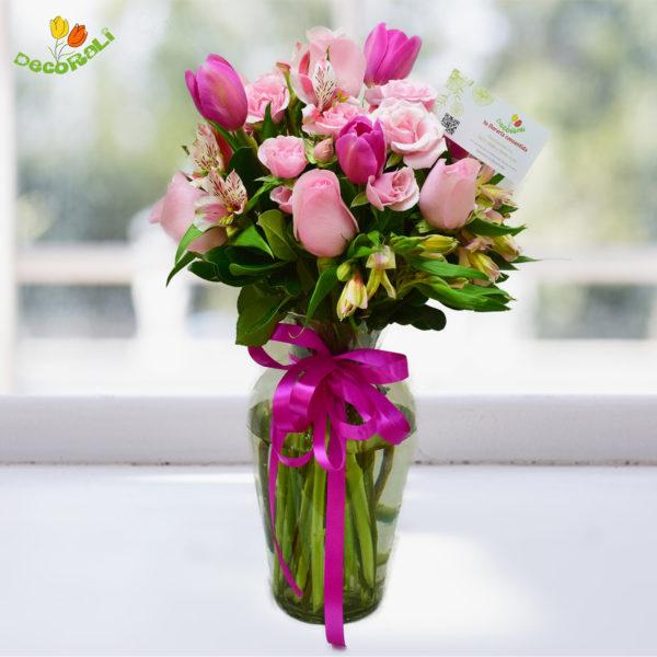 Rosa tulipan y rosa baby
