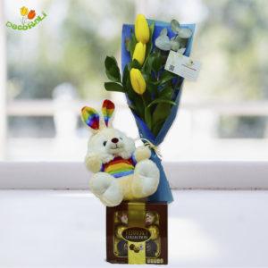 Combo tulipan peluche y ferrero