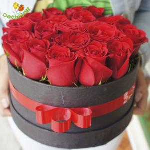 Caja redonda con rosas