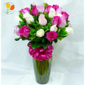 24 rosas color rosado