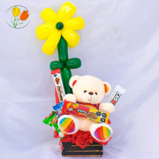 Flor de globos con peluche chico