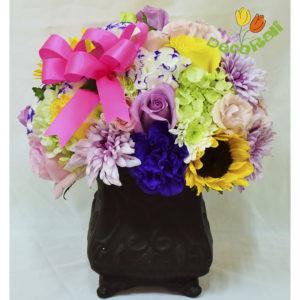 Rosa girasol y hortensia en ceramica