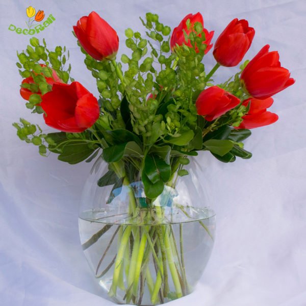 Tulipanes 10 en jarron de vidrio