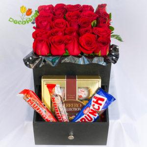 Caja de rosas con cajon