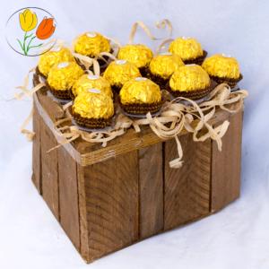 Ferrero rocher en corazon de madera