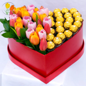 Corazon de tulipanes y ferrero rocher