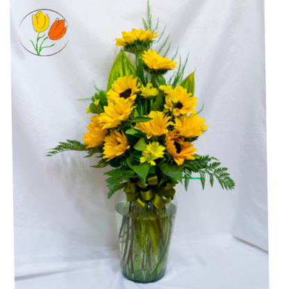 Girasoles mini en florero