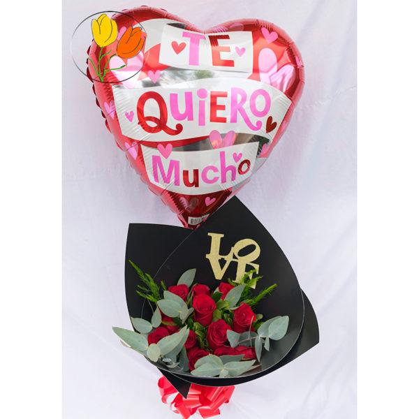 Ramo de 12 rosas con globo
