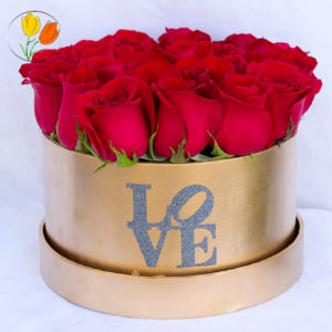 Golden Box con rosas