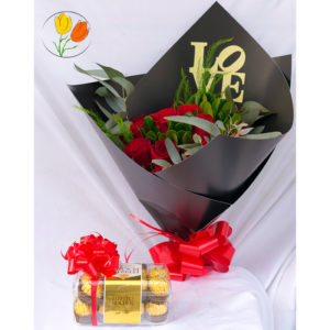 Ramo 24 rosas con chocolates