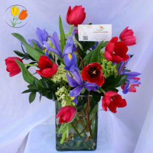 Iris y tulipan