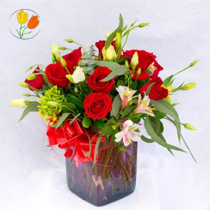 Rosas en cubo de vidrio